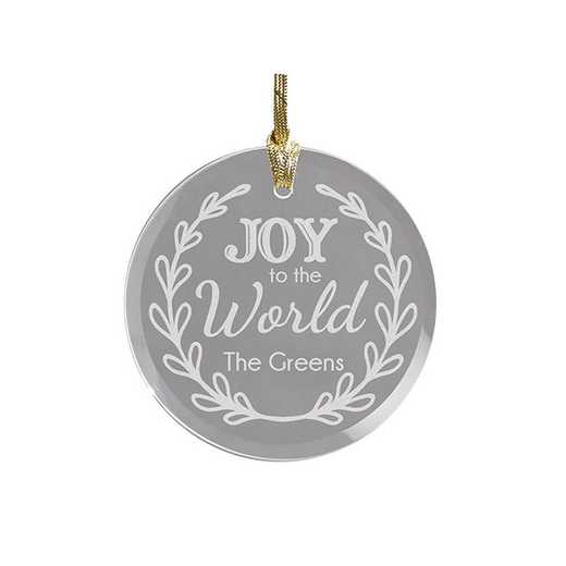 8107224R: PGS Engraved Joy To The World Round Glass Ornament
