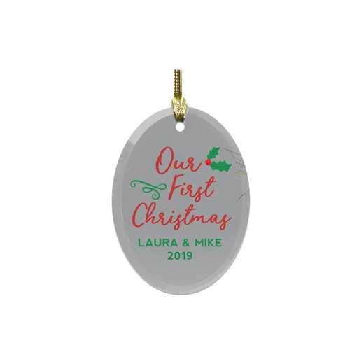 8121224: PGS Personalized Our First Christmas Glass Ornament