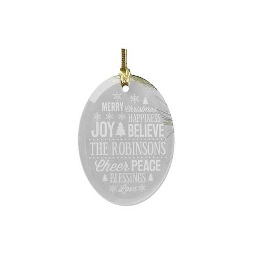 8140234: PGS Personalized Christmas Word Art Oval Glass Ornament