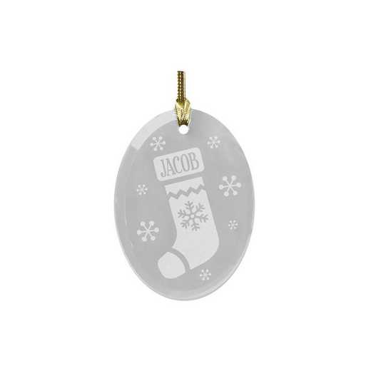 8141944: PGS Engraved Stocking Oval Glass Ornament