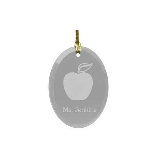 830364: PGS Teacher's Apple Engraved Ornament, Oval Glass