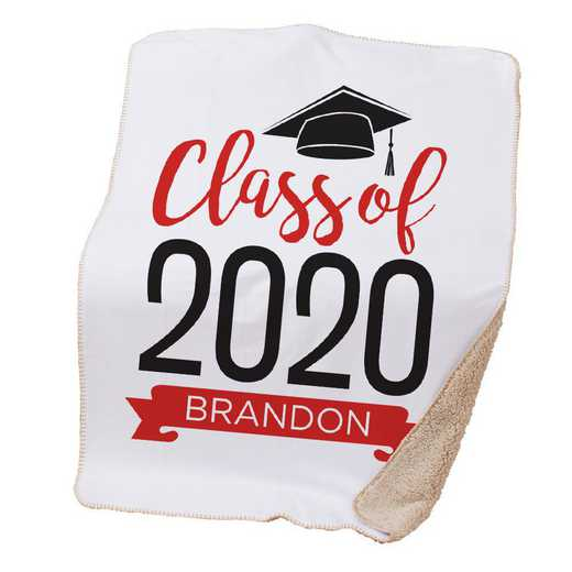 BALU1400687RD: PGS Grad hat with Banner Throw Red