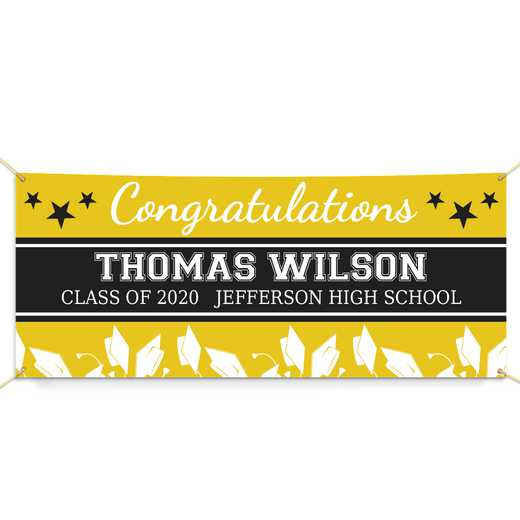 911260914-YELLOW: PGS GradStar Banner Yellow