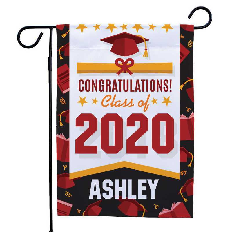 830126072RD: PGS Border Grad Garden Flag- Red