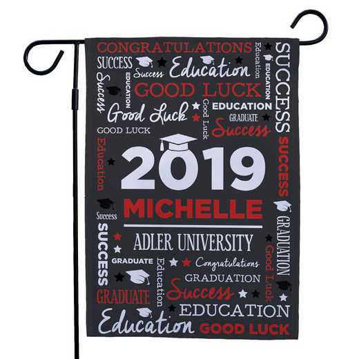 830140082-RED: PGS Grad Word Art Gasrden Flag Red