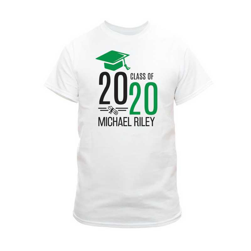 Personalized Graduate Hat With Diploma White T-Shirt Small Green