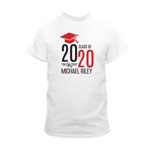 Personalized Graduate Hat With Diploma White T-Shirt - Red