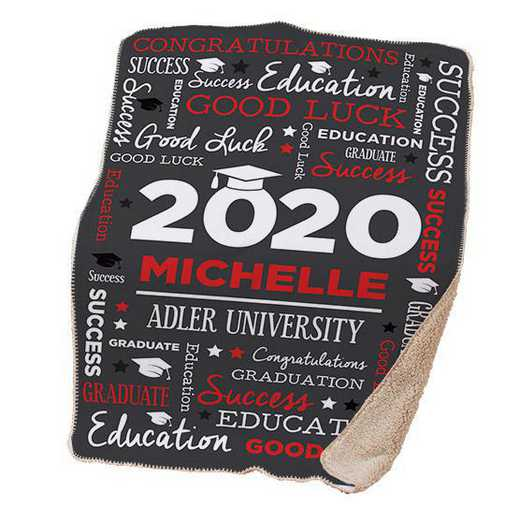 U1400887RD: PGS Word Art Grad Throw Red