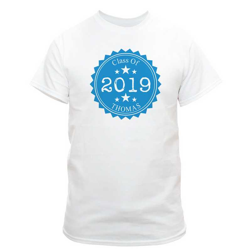 Class Of Graduation T-Shirt White with Blue Design