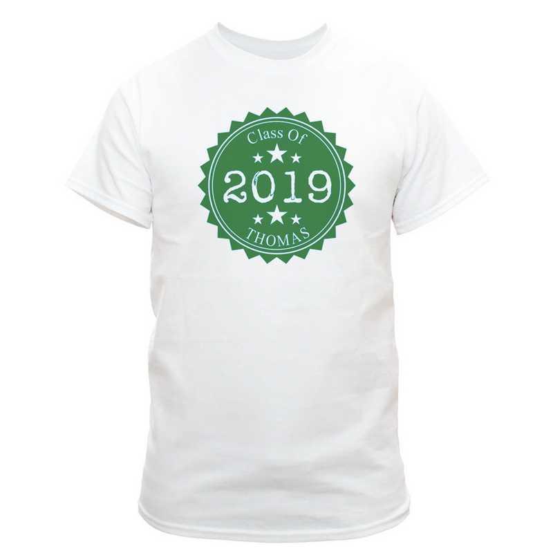 Class Of Graduation T-Shirt White with Dark Green Design