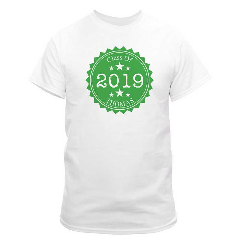 Class Of Graduation T-Shirt White with Green Design