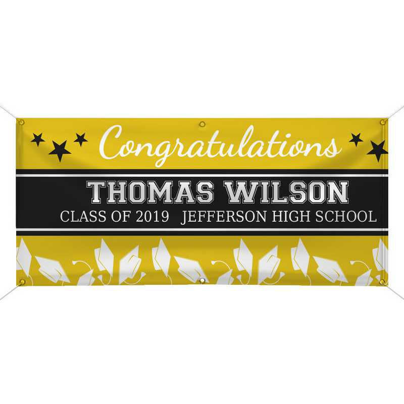 911260914-YELLOW: PGS GradStar Banner Yellow