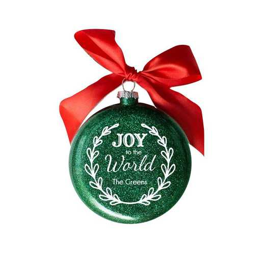 81072212MM: PGS Personalized Joy to the World Glass Ornament