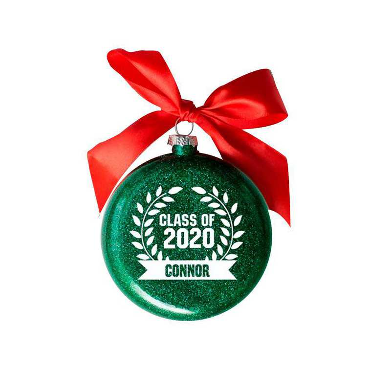 81261612MM : PGS Personalized Glass Graduation Banner Ornament