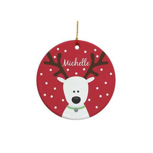 U346710: PGS Round Reindeer Ornament