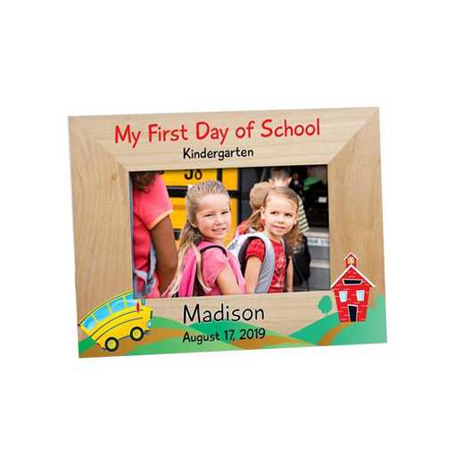 9116551: School Bus Wooden Picture Frame Alder 4 x 6