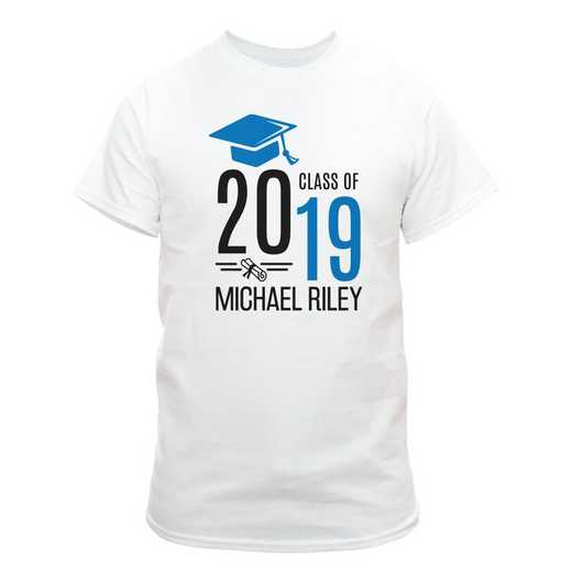 Personalized Graduate Hat With Diploma White T-Shirt - Blue