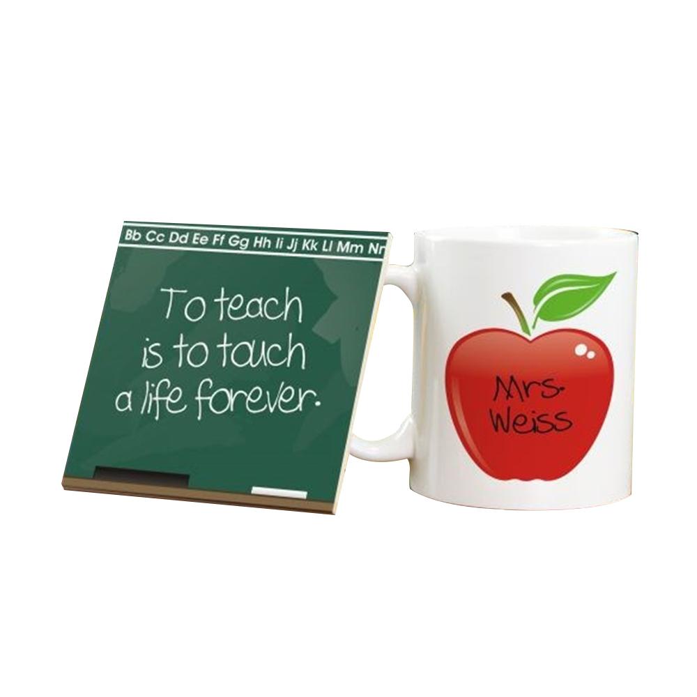 Personalized  Chalkboard Ceramic Mug And Coaster Set