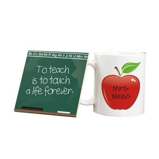 222866: Chalkboard Ceramic MUG and COASTER SET