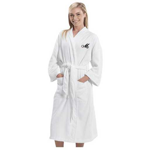 E315813WHBKS: Embroidered Initial Terry Cloth Cotton Robe