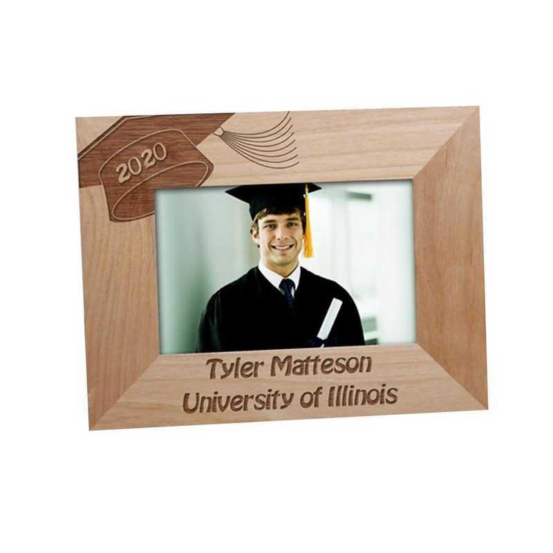 974504: PGS Grad Cap Engraved Wood Frame 8x10