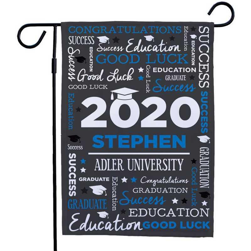 830140082-BLUE: PGS Grad Word Art Gasrden Flag Blue