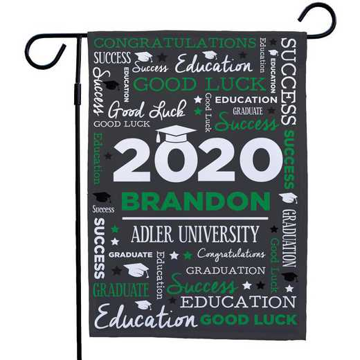 830140082-GREEN : PGS Grad Word Art Gasrden Flag Green
