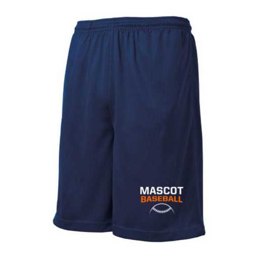 Baseball Embroidered Sport-Tek 9 inch Mesh Pocket Short
