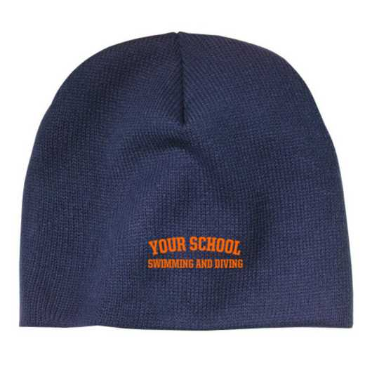 Swimming and Diving Embroidered Knit Beanie Cap