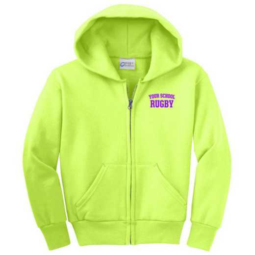 Rugby Embroidered Youth Full Zip Hooded Sweatshirt