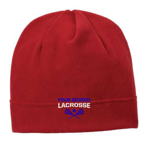 C900-LAC-OSFA: Lacrosse Embroidered Stretch Fleece Beanie