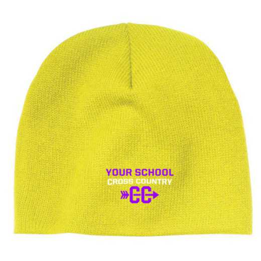 Cross Country Embroidered Knit Beanie Cap