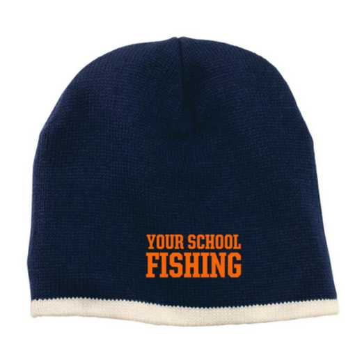 Fishing Embroidered Knit Beanie Cap