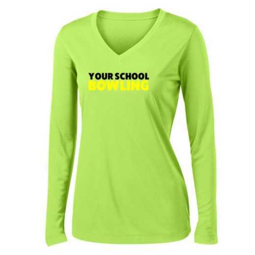 Bowling Womens Sport-Tek Long Sleeve V-Neck Competitor T-Shirt