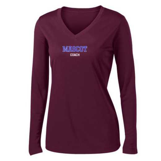 Coach Womens Sport-Tek Long Sleeve V-Neck Competitor T-Shirt