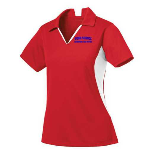 Swimming and Diving Sport-Tek Embroidered Womens Side Blocked Sport Wick Polo