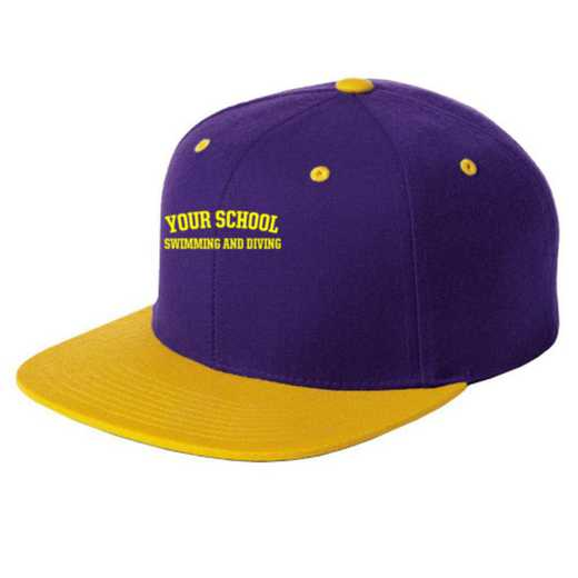 Swimming and Diving Embroidered Sport-Tek Flat Bill Snapback Cap