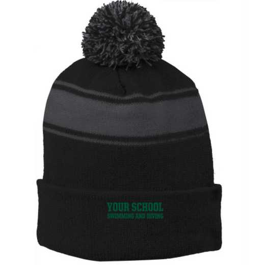 Swimming and Diving Embroidered Pom Beanie