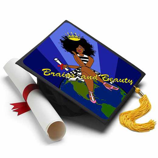 BLACKQUEEN: Black Queen - Brains and Beauty -Grad Cap Tassel Topper