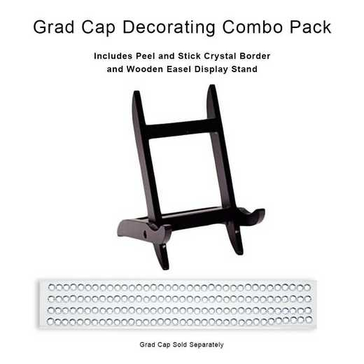 BUN1: CRYSTAL GEM BORDER /Graduation Cap DisplayStand Wooden Easel