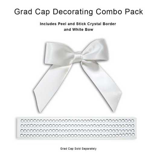 BUN2: CRYSTAL GEM BORDER /White Bow for Tassel Topper