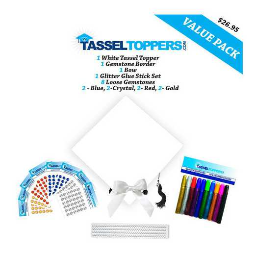 Grad Cap Decorating Kit - White: Graduation Cap Decorating Kit - White