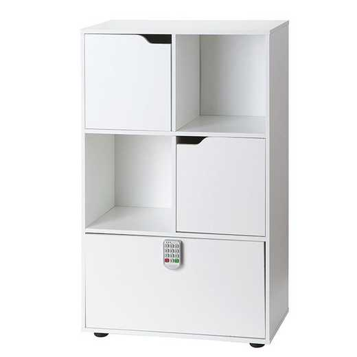 BOOKLS-B17YAK-WHT: DormCo Yak About It Locking Safe Bookshelf - White