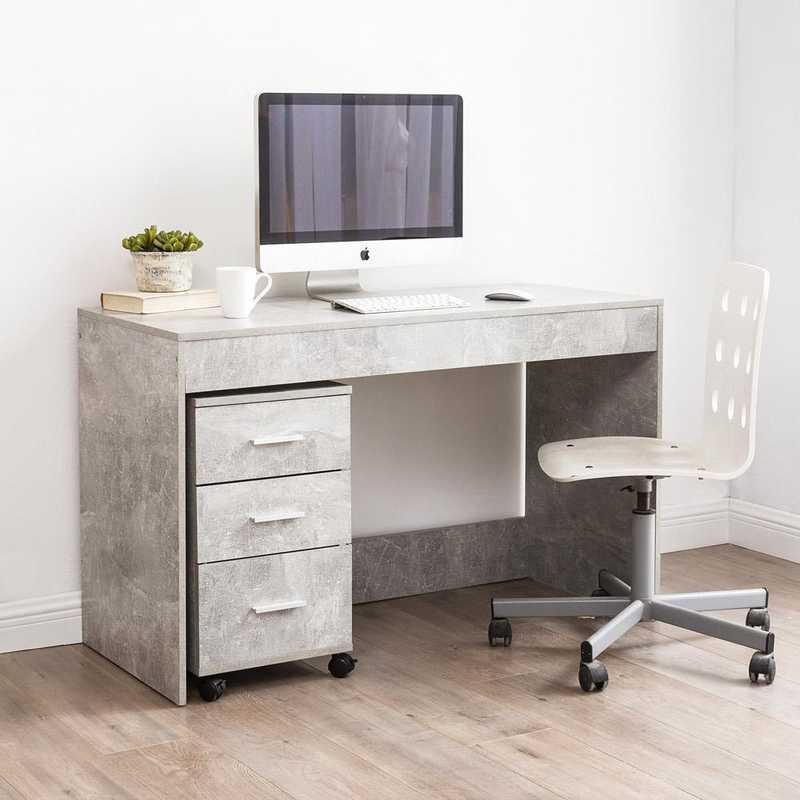 WDESK-J17YAK-GRAY: DormCo Yak About It Simple Style Dorm Work Desk- Marble Gray