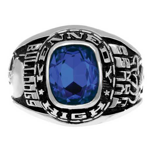 Men's Personalized Cushoin-Cut Birthstone Class Ring - Triumph