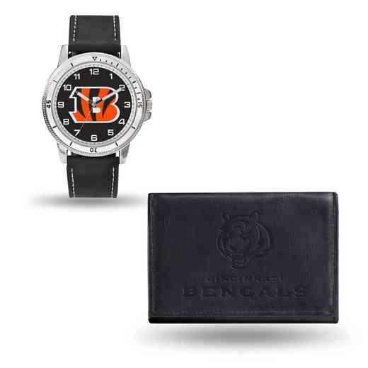 GC4820: Men's NFL Watch/Wallet Set - Cincinnati Bengals - Black