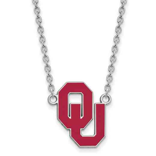 SS017UOK-18: LogoArt NCAA Enamel Pendant - Oklahoma - White