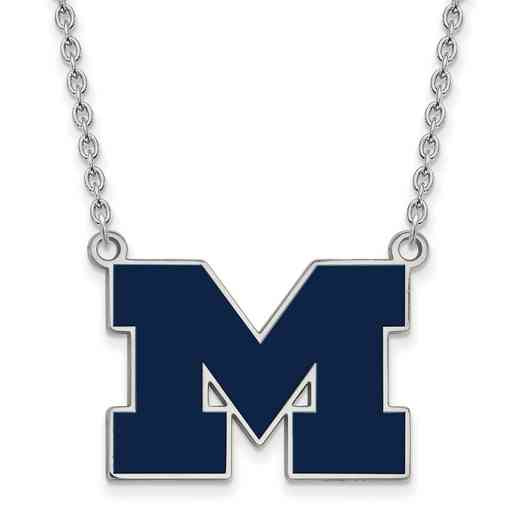 SS060UM-18: LogoArt NCAA Enamel Pendant - Michigan - White