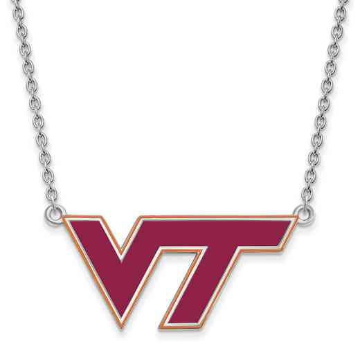 SS080VTE-18: LogoArt NCAA Enamel Pendant - Virginia Tech - White