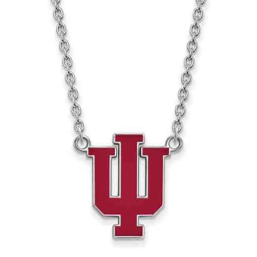 SS073IU-18: LogoArt NCAA Enamel Pendant - Indiana - White